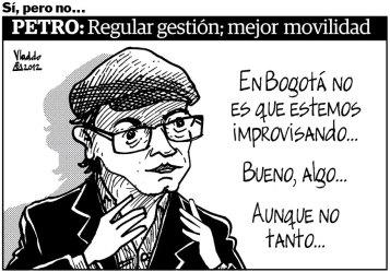 El alcalde Gustavo Petro dio palos de ciego en Bogotá.